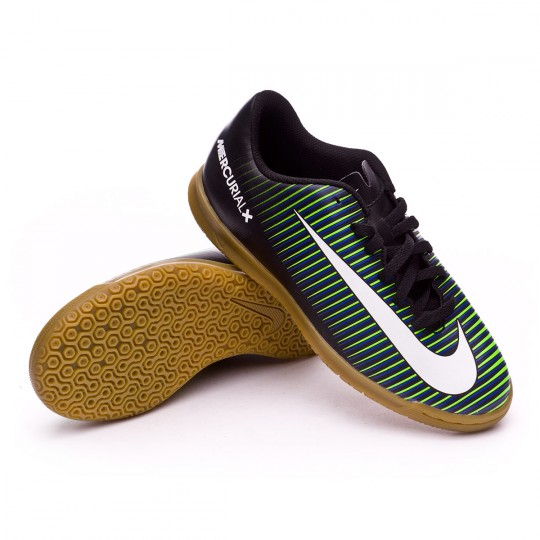 Zapatilla de fútbol sala  Nike jr MercurialX Vortex III IC Black-White-Electric green