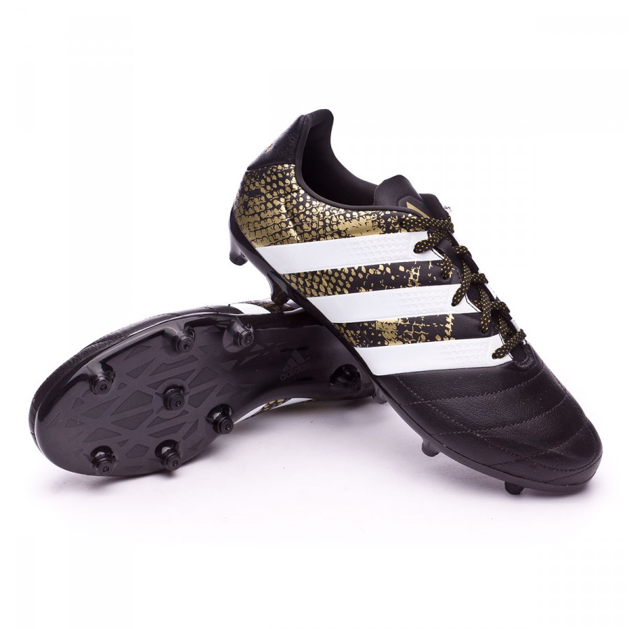 27343b76bac53 Football Boots adidas Ace 16.3 FG Leather Core black-White-Gold ...