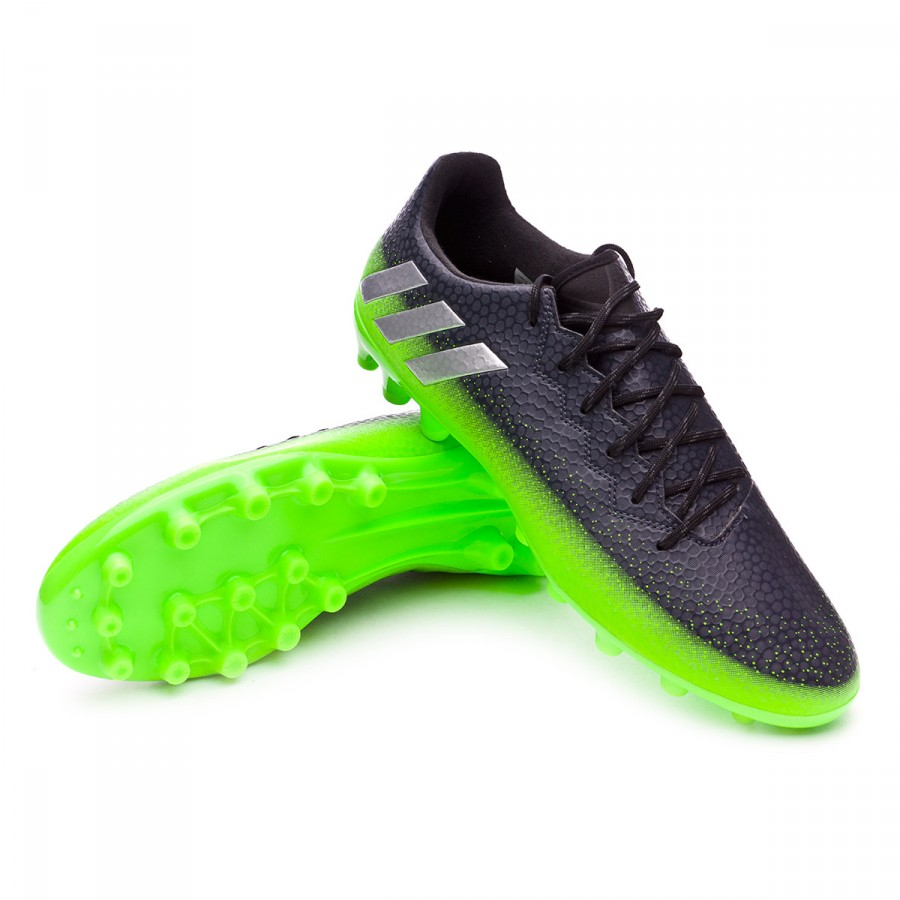 ffe9b44447b0e Chaussure de foot adidas Messi 16.3 AG Dark grey-Silver metallic-Solar  green - Boutique de football Fútbol Emotion