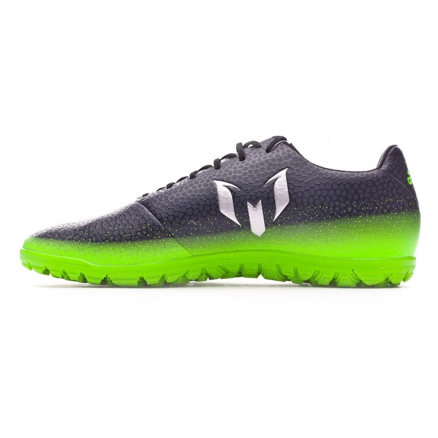 5506e886ed6 Football Boots adidas Messi 16.3 Turf Dark grey-Silver metallic-Solar green  - Football store Fútbol Emotion