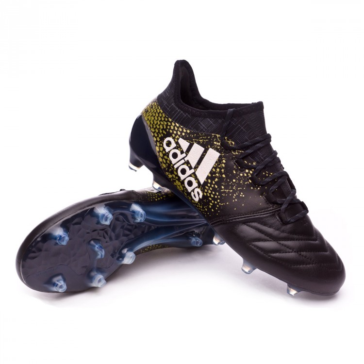 5e5042c694af Football Boots adidas X 16.1 FG Leather Core black-White-Gold ...