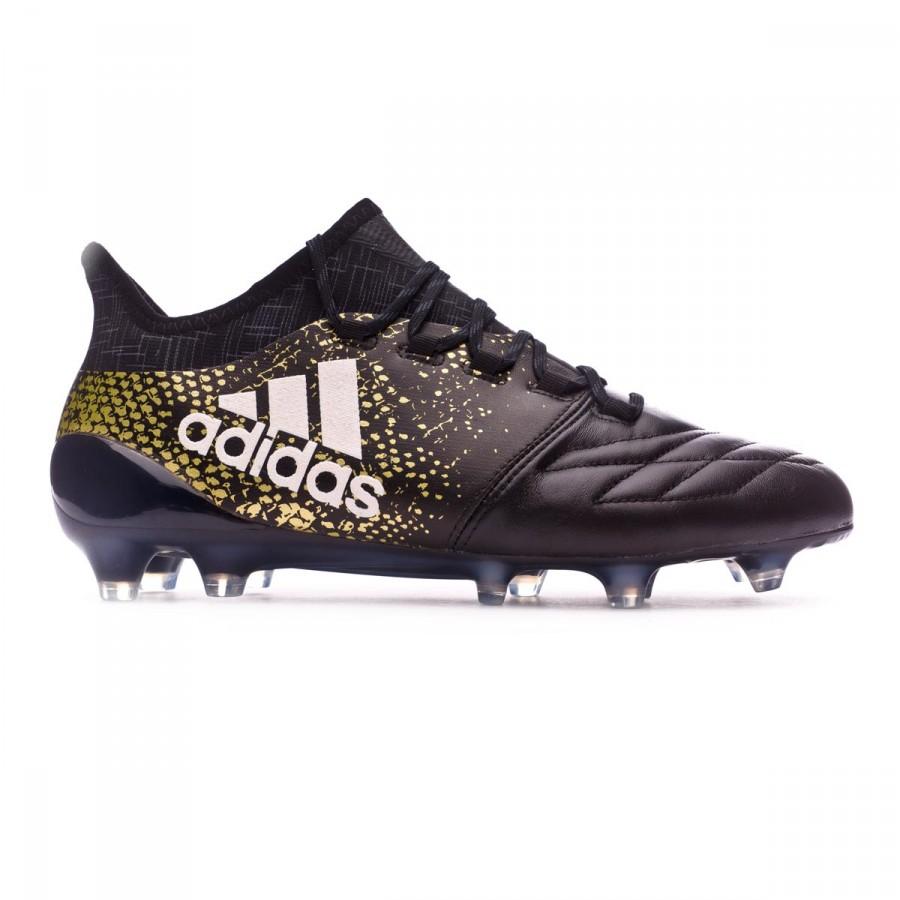 Boot adidas X 16.1 FG Leather Core black-White-Gold metallic - Football store  Fútbol Emotion 700403959e982