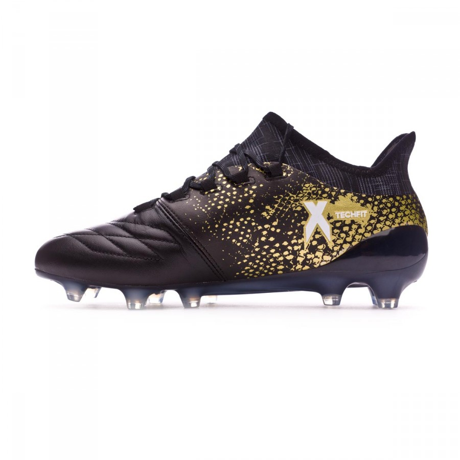 90711fdcb7c3 Football Boots adidas X 16.1 FG Leather Core black-White-Gold metallic - Football  store Fútbol Emotion