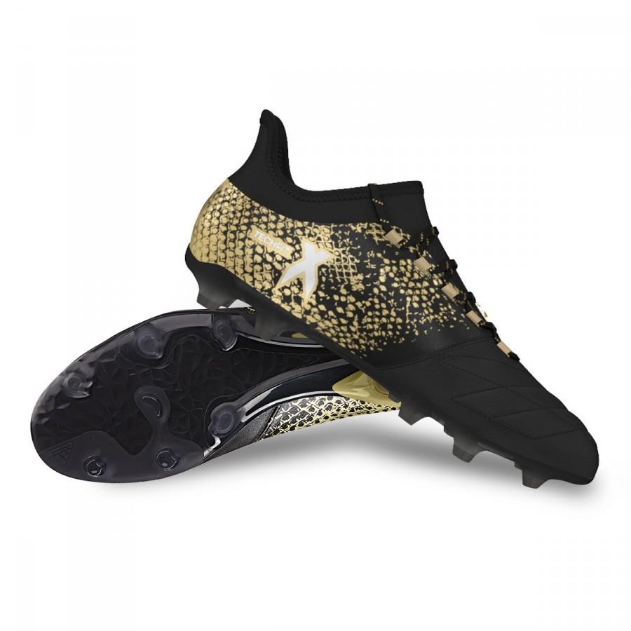 Bota de fútbol adidas X 16.2 FG AG Leather Core black-White-Gold ... aaa4c17588278