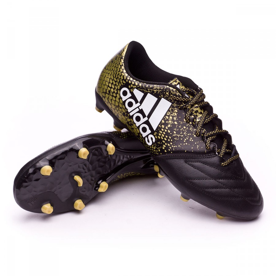 388cc2bee9 Chuteira adidas X 16.3 FG Leather Core black-White-Gold metallic - Loja de  futebol Fútbol Emotion