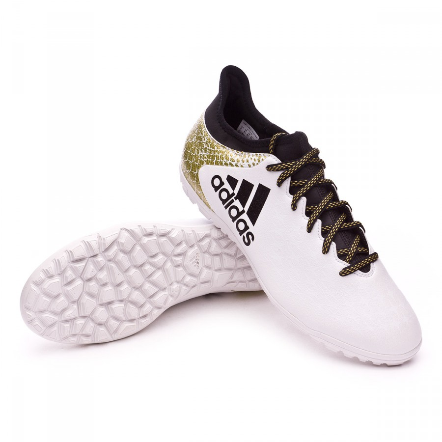 Bota de fútbol adidas X 16.3 Turf White-Core black-Gold metallic -  Soloporteros es ahora Fútbol Emotion 587ca5c2daed1