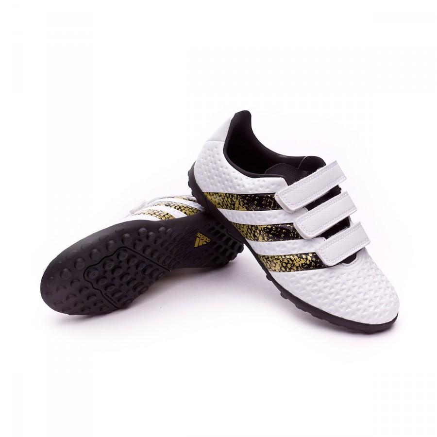 purchase cheap 34b05 35410 Bota de fútbol adidas Ace 16.4 Velcro Turf Niño White-Core black-Gold  metallic - Soloporteros es ahora Fútbol Emotion