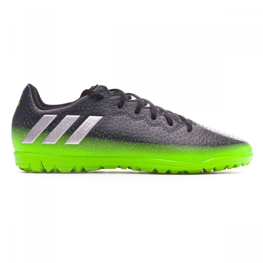 519835ce49 Tenis adidas Messi 16.3 Turf Niño Dark grey-Silver metallic-Solar green -  Tienda de fútbol Fútbol Emotion