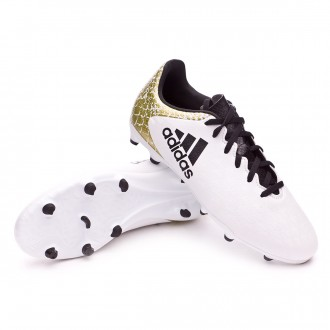 Bota  adidas X 16.3 FG Niño White-Core black-Gold metallic