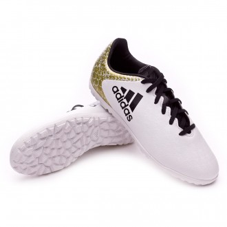 Chuteira  adidas Jr X 16.3 Turf White-Core black-Gold metallic