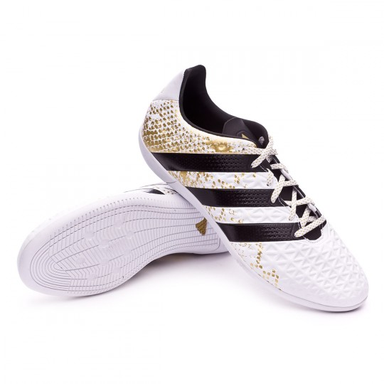 Sapatilha de Futsal  adidas Ace 16.3 IN White-Black-Gold metallic