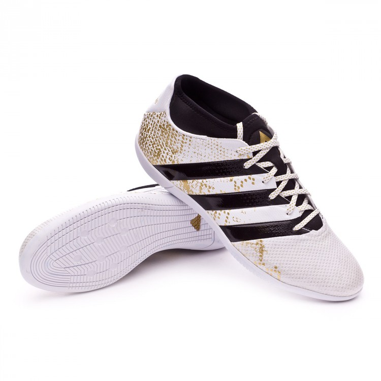 fb619939e1 Sapatilha de Futsal adidas Ace 16.3 Primemesh IN White-Black-Gold ...
