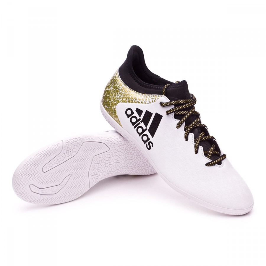 Chaussure de futsal adidas X 16.3 IN White-Black-Gold metallic - Boutique  de football Fútbol Emotion 0f7292e311f4a