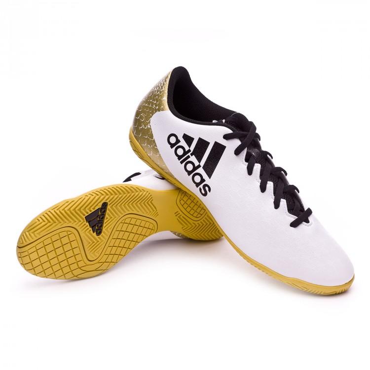 fdc08b87ac5e Futsal Boot adidas X 16.4 IN White-Black-Gold metallic - Football ...