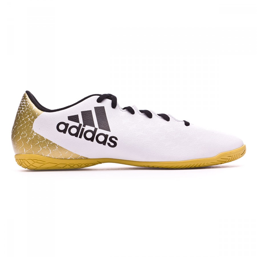 d10f3071c Futsal Boot adidas X 16.4 IN White-Black-Gold metallic - Football store  Fútbol Emotion