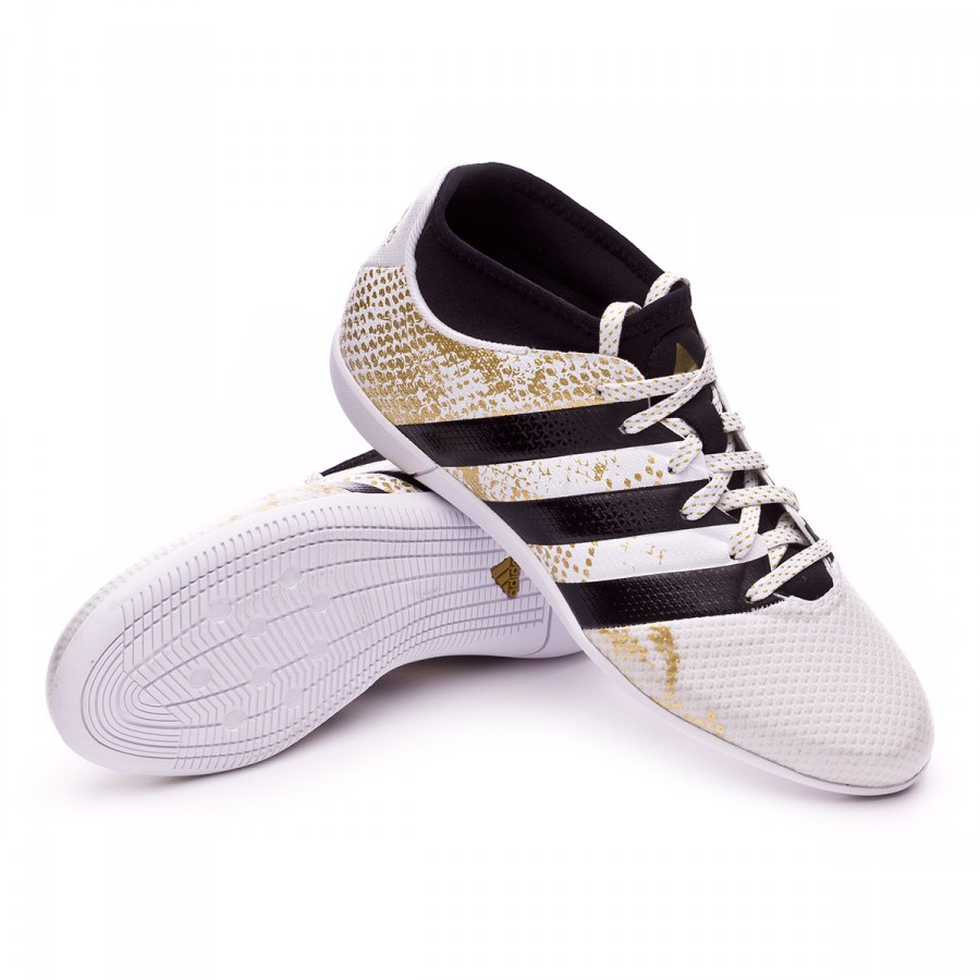 fca72011b adidas Jr Ace 16.3 Primemesh Futsal Boot. White-Black-Gold metallic ...