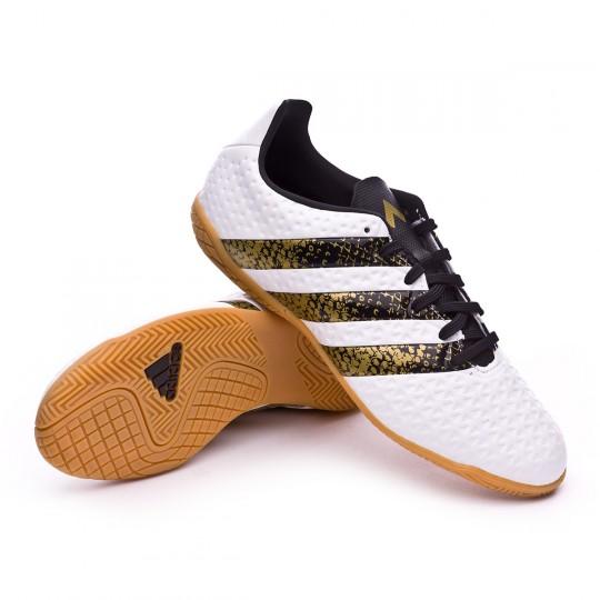 Zapatilla de fútbol sala  adidas jr Ace 16.4 IN White-Black-Gold metallic