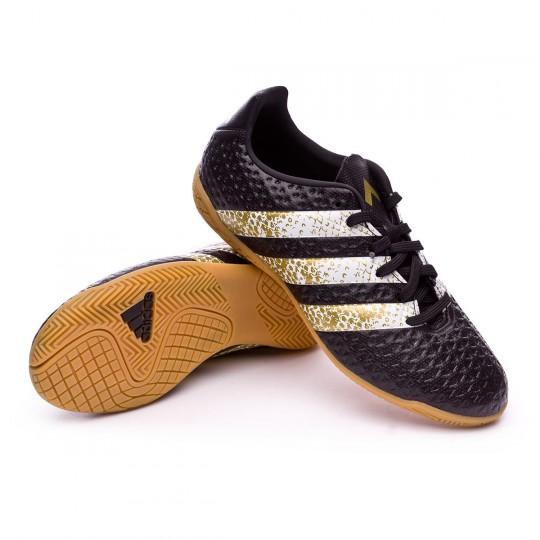 Zapatilla de fútbol sala  adidas jr Ace 16.4 IN Black-White-Gold metallic