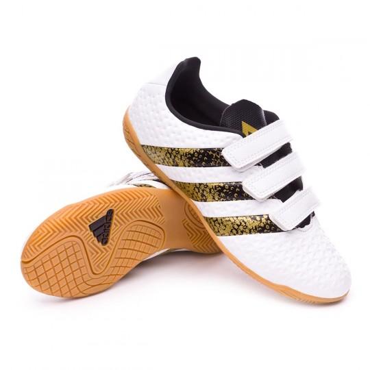Zapatilla de fútbol sala  adidas jr Ace 16.4 IN Velcro White-Black-Gold metallic