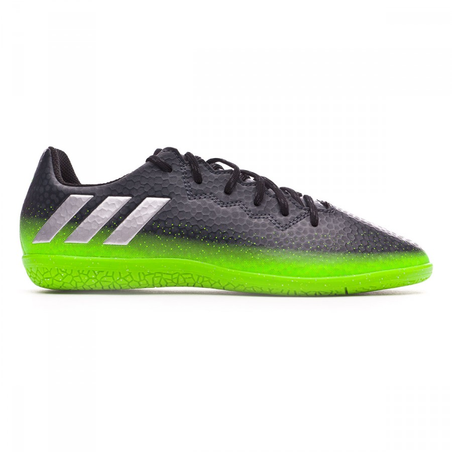 4b1951f6510 Futsal Boot adidas Jr Messi 16.3 IN Dark grey-Silver metallic-Solar green -  Football store Fútbol Emotion