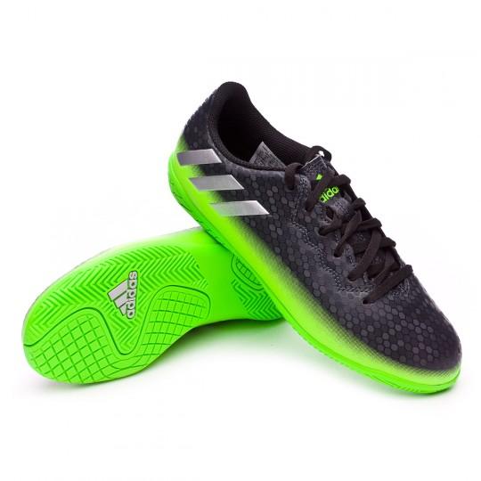 Zapatilla de fútbol sala  adidas jr Messi 16.4 IN Dark grey-Silver metallic-Solar green