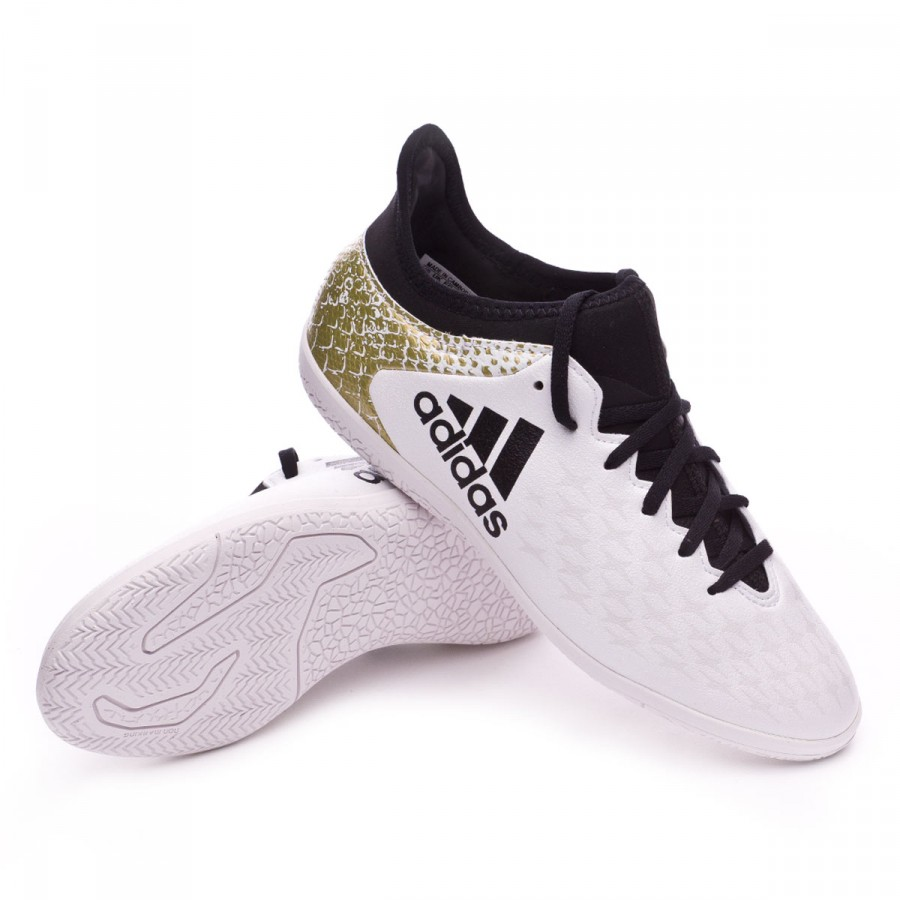 3a05f14fc Futsal Boot adidas Jr X 16.3 IN White-Black-Gold metallic - Football ...