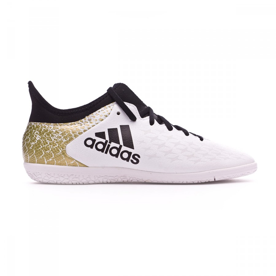 e1436564e Futsal Boot adidas Jr X 16.3 IN White-Black-Gold metallic - Football store  Fútbol Emotion