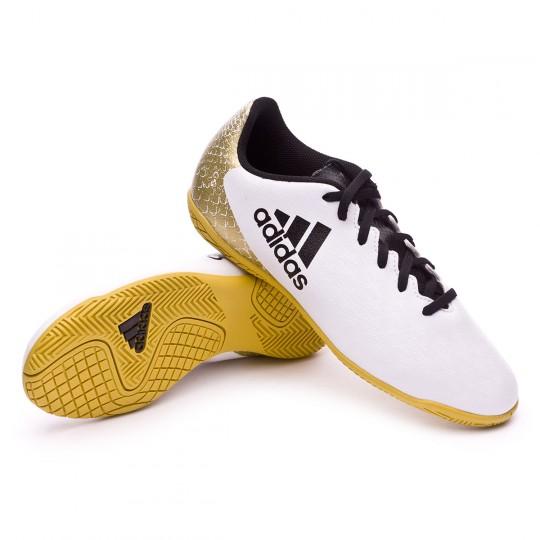 7105e081b58b7 Futsal Boot adidas Jr X 16.4 IN White-Black-Gold metallic - Football store  Fútbol Emotion