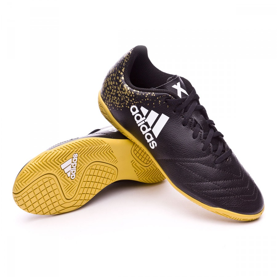 f7a121963446 Futsal Boot adidas Jr X 16.4 IN Black-White-Gold metallic - Football ...