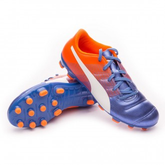 Chuteira  Puma Jr evoPOWER 4.3 AG Blue yonder-Puma white-Shocking