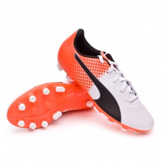 Chuteira  Puma Jr evoSPEED 5.5 AG Puma white-Blue yonder-Shocking orange