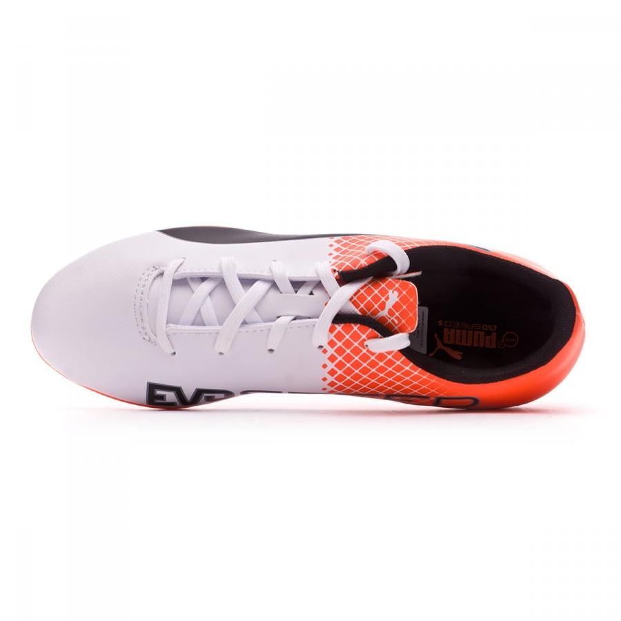 75bbbc39 Football Boots Puma Jr evoSPEED 5.5 AG Puma white-Blue yonder-Shocking  orange - Football store Fútbol Emotion