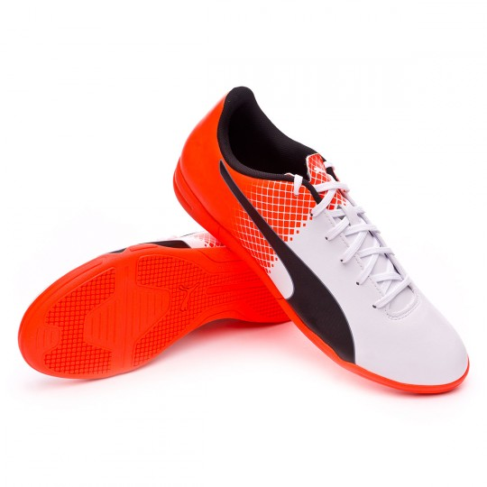 Chaussure de futsal  Puma evoSPEED 5.5 IT Puma white-Blue yonder-Shocking orange