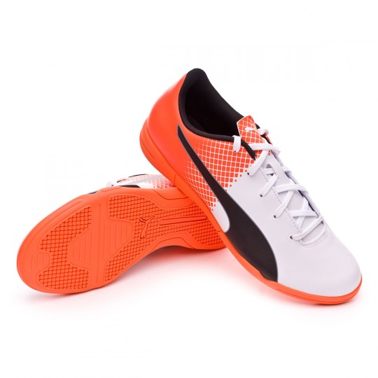 Chaussure de futsal  Puma jr evoSPEED 5.5 IT Puma white-Blue yonder-Shocking orange