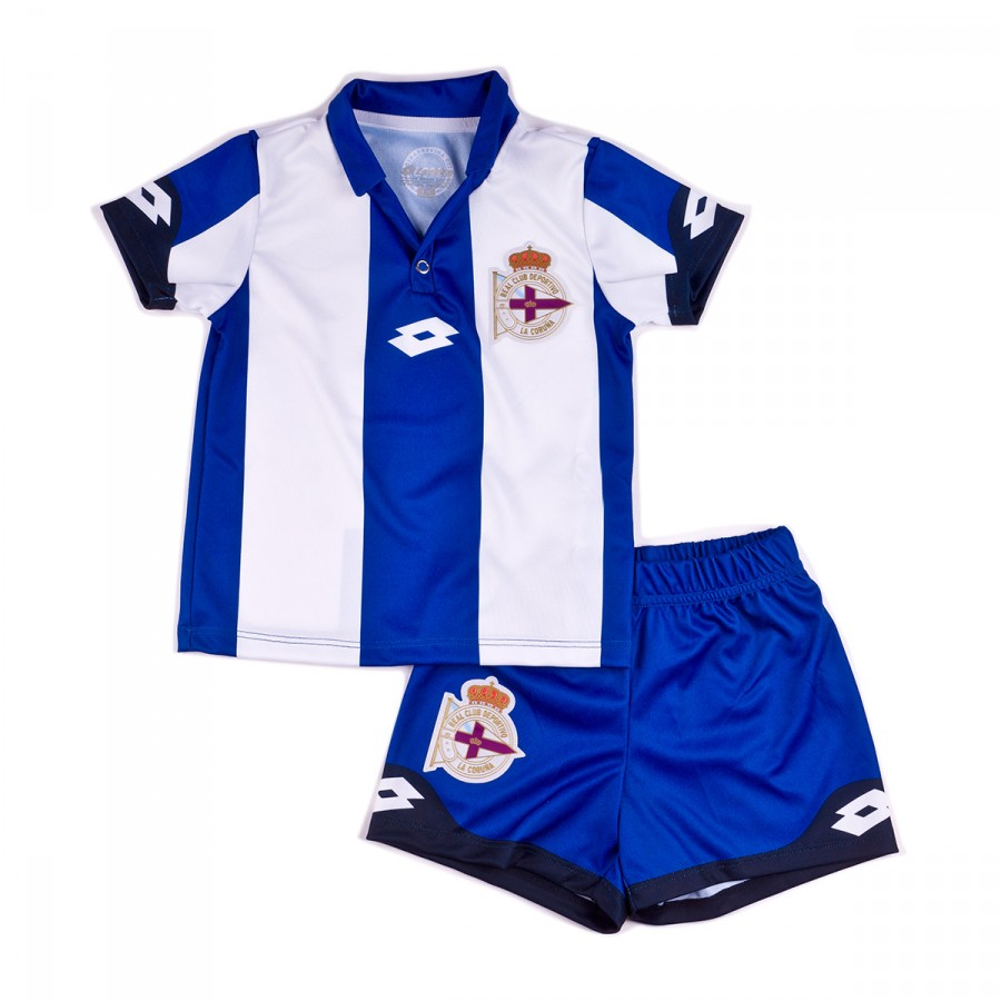 Conjunto Lotto RC Deportivo de la Coruña Primera Equipación 2016-2017 Bebé  Royal-White - Soloporteros es ahora Fútbol Emotion e78892a039c