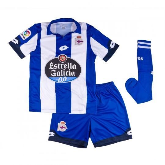 Conjunto  Lotto RC Deportivo de la Coruña Primera Equipación 2016-2017 Niño Royal-White