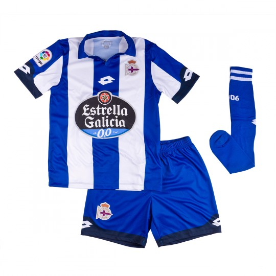Conjunto  Lotto jr RC Deportivo de la Coruña Home 2016-2017 Royal-White
