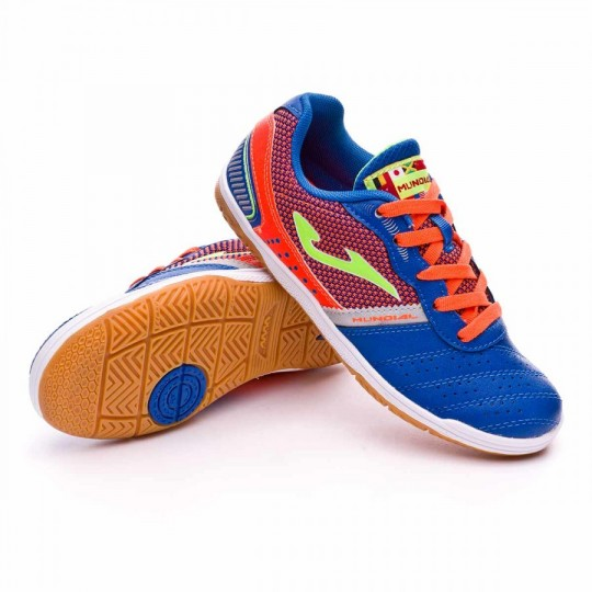 Zapatilla de fútbol sala  Joma jr Mundial Blue-Orange
