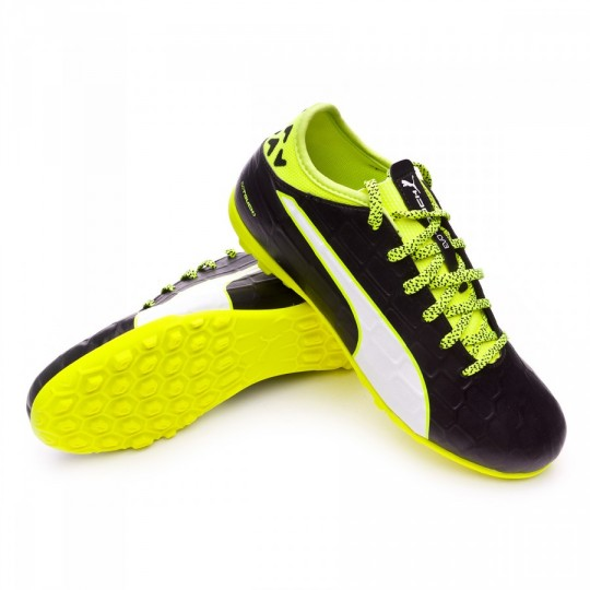Chaussure de futsal  Puma jr EvoTouch 3 TT Black-White-Safety yellow