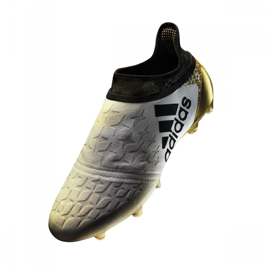 big sale 8aae3 98c3e Bota X 16+ Purechaos FG Niño White-Core black-Gold .