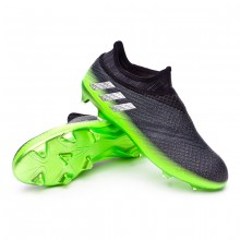Messi 16+ Pureagility Dark grey-Silver metallic-Solar green