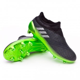 Kids Messi 16+ Pureagility Dark grey-Silver metallic-Solar green