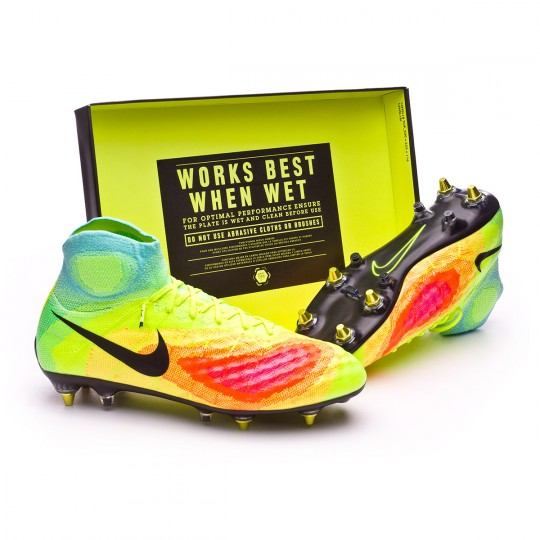 Chuteira  Nike Magista Obra II SG-Pro AntiClog Volt-Black-Total orange-Pink blast