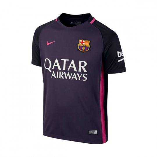 Camiseta  Nike jr FC Barcelona Away Stadium Top 2016-2017 Purple dynasty-Black-Vivid pink