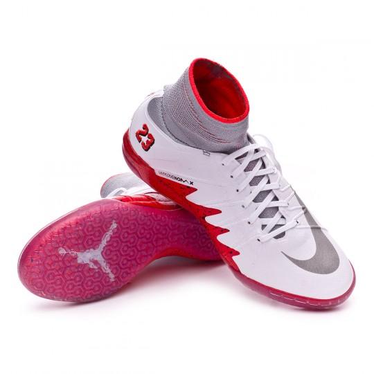 Sapatilha de Futsal  Nike jr HyperVenomX Proximo Neymar jr IC White-Reflect silver-Light crimson-Black