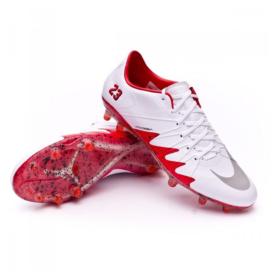 free shipping afdf2 3a22e Bota HyperVenom Phinish II Neymar FG White-Reflect silver-Light  crimson-Black