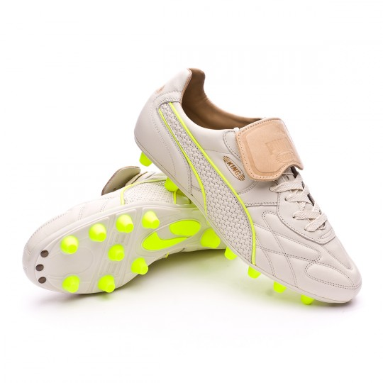 Chaussure  Puma King Top M.I.I Naturale FG White-Safety yellow