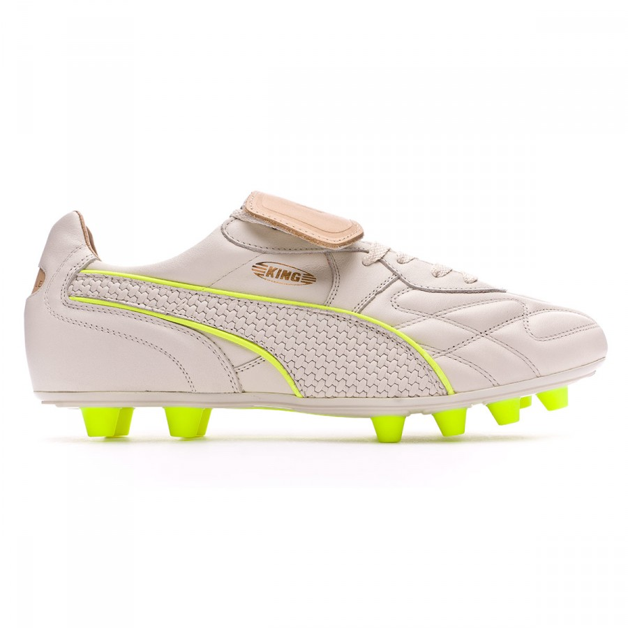 c66708107 Football Boots Puma King Top M.I.I Naturale FG White-Safety yellow -  Football store Fútbol Emotion