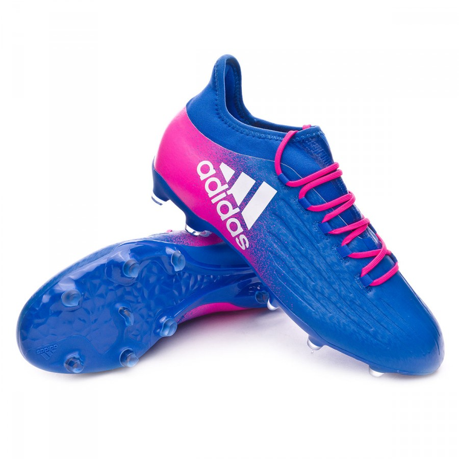 0be2f2c347ed9 Football Boots adidas X 16.2 FG Blue-White-Shock Pink - Football ...