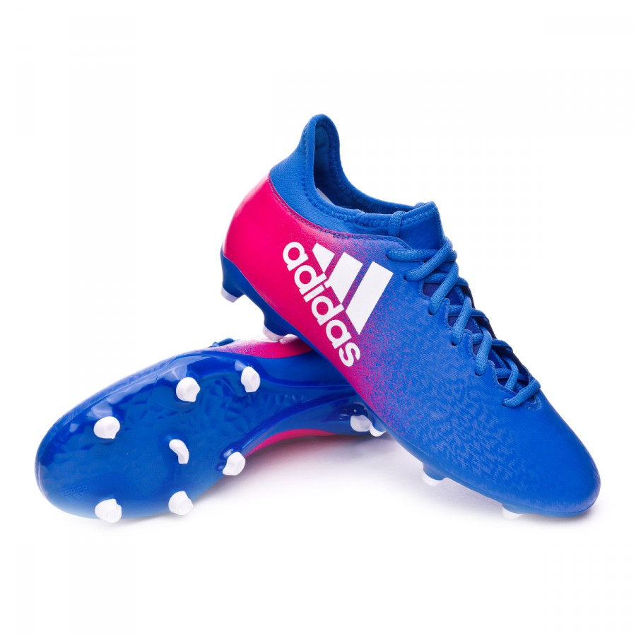 56de01c31afcf Football Boots adidas X 16.3 FG Blue-White-Shock pink - Football ...